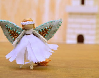 Waldorf Fairy Doll - waldorf fairies, miniature fairy doll, miniature fairies, flower fairy doll, flower fairies, small fairy doll