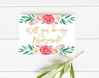 Printable bridesmaid card, Will you be my bridesmaid, Peonies bridesmaid card, Floral bridesmaid card, Gold and Blush bridesmaid card, Pink