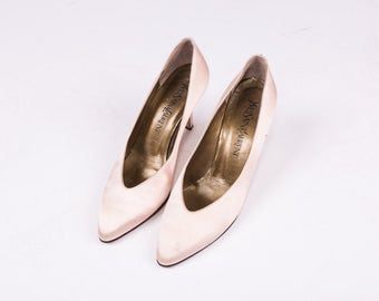 YVES SAINT LAURENT Pink Satin Heels Size 7