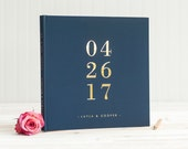 Navy and Gold Wedding Guest Book with Real Gold Foil guestbook 12x12 wedding photo album personalized instant photo wedding gift hardcover