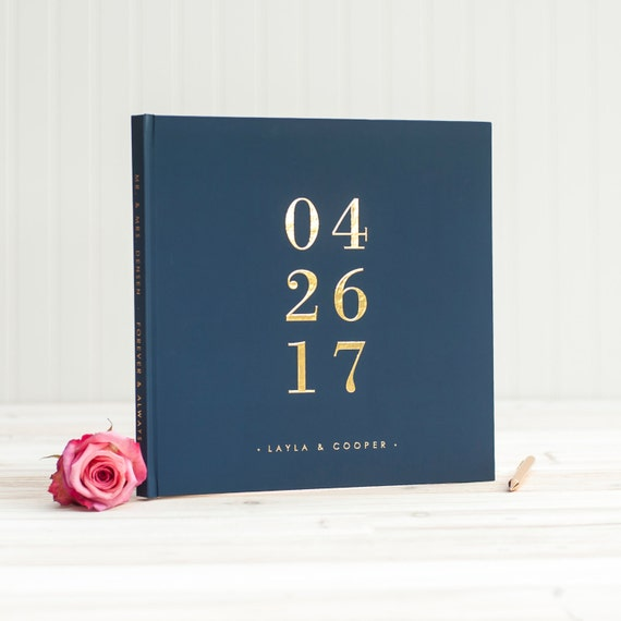 Navy and Gold Wedding Photo Album with Real Gold Foil