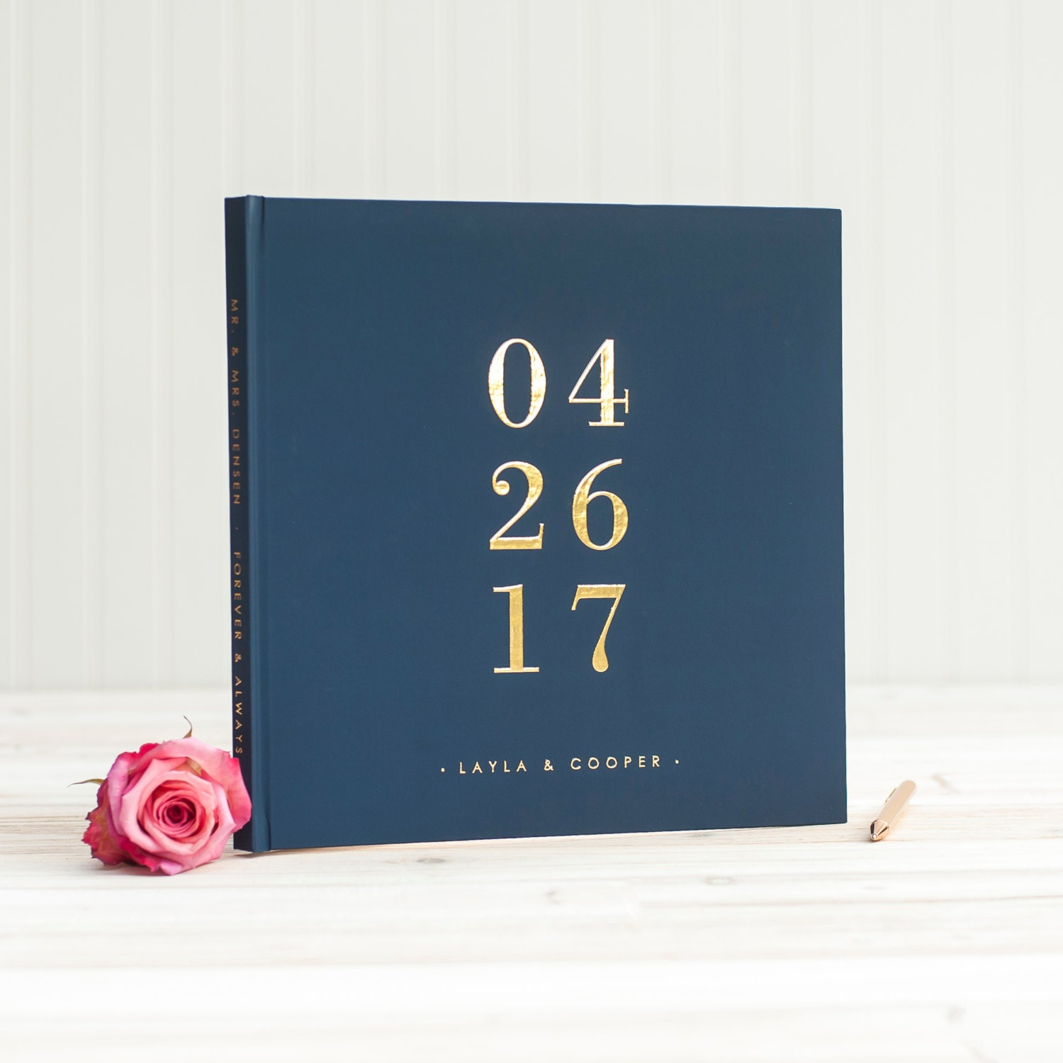 Wedding Book Cover Ideas : Navy and gold wedding guest book with real foil guestbook
