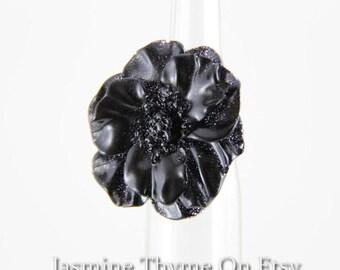 Big Black Ring, Statement Ring, Flower Ring, Rose Ring, Bold Ring, Chunky Ring, Resin Ring, Resin Flower Ring, Resin Jewelry