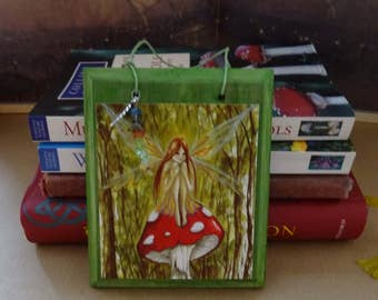 Woodland Wish ~ Hanging Gemstone Wooden Art Plaque