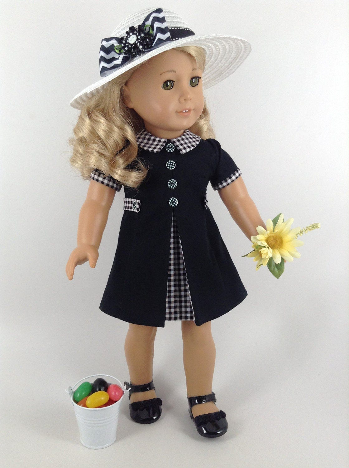 American girl 18 inch doll clothes 1960 39 s style dress for Garden tools for 18 inch doll