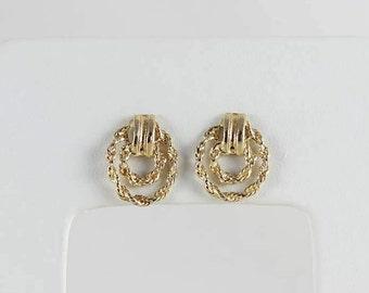 14k Yellow Gold Earrings Rope Earrings Stud Earrings