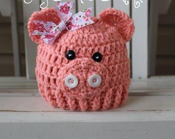 Baby Piggy Hat, Pig Beanie, Girl Hat, Kids Hat, Baby Hat, Pig Hat,Baby Beanies,  Kids Beanies, Infant Hat, Easter Hat, Toddler Hat