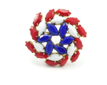 Vintage Pinwheel Rhinestone Brooch, Opaque Stones, Red White Blue, Gold Tone