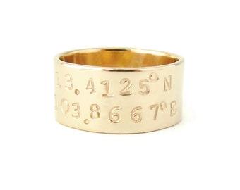 Gift, Wide Band Coordinates Ring, Personalized Latitude Longitude Ring, Custom Stamped Ring, Custom Coordinate Jewelry, Gold Stamped Ring