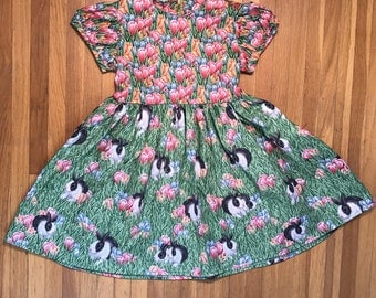 Bunnies with Tulips // Girls Easter Dress Size 4T