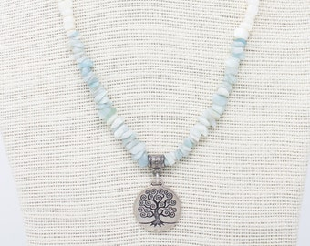 Beach Necklace, Tree of Life Pendant, Amazonite Chips, Pale Blue Necklace, Amazonite Necklace, Tree Necklace, Earth Day, Beach Wedding