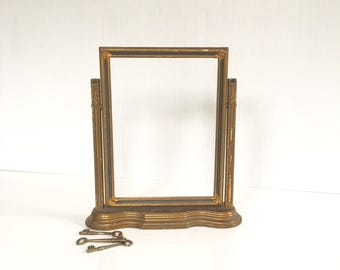 "vintage wood swivel frame 11 1/2"" high, antiqued gold finish"
