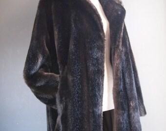 Faux fur coat - mid century chic - burlesque style - opera coat - vegan fur - eveningwear - winter coat - brown fur coat - Parisian chic