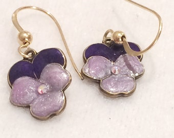 Vintage  Purple Metal Cloissone  Pierced Floral Earrings Dangle