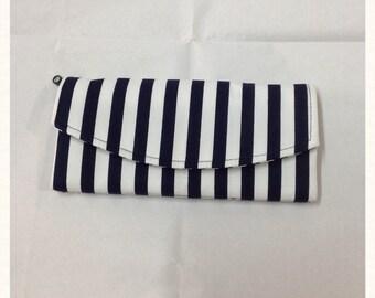 Tri fold long wallet, cotton fabric, navy & white stripe
