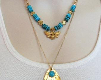 Turquoise Necklace, December Birthstone, Honey Bee Jewelry, Turquoise Nugget Jewelry, Chunky Turquoise Jewelry, Turquoise and Gold,Statement