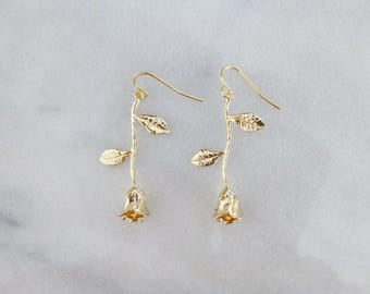 Rose Charm Earrings Gold Flower Jewelry Bridal Bridesmaids Beauty And The Beast Wedding Belle Emma Watson Accessories Womens Gift For Her