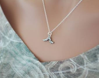 Sterling Silver Caterpillar Charm Necklace, Caterpillar Necklace, Silver Caterpillar Pendant Necklace, Caterpillar Charm Necklace