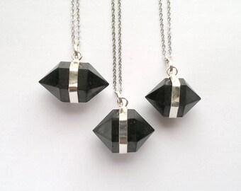 Shungite Necklace Shungite Pendant Shingite Jewelry Black Stone Necklace Black Crystal Necklace Silver Shungite Black Point Necklace Mystic