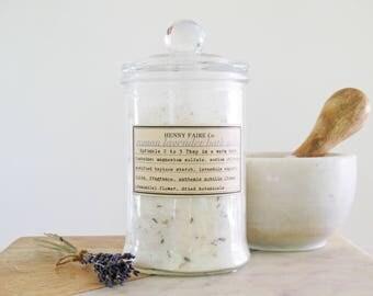 bath salts roman lavender | lavender bath salt with roman chamomile | vanity top 24 oz apothecary glass jar