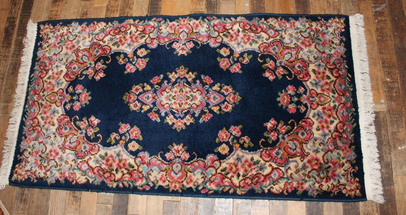 Karastan Area Rug 2x4 Vintage Kirman Rugs Blue Ivory Great