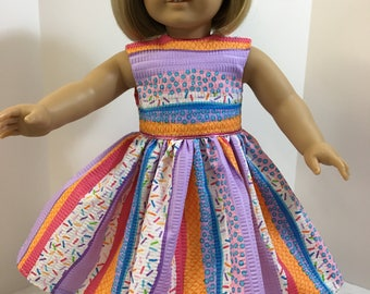 "18 inch ""Fun Colorful PARTY or Play"" Dress, 18"" AG American Doll, Fits 18"" Dolls, Colorful Party Dress or Birthday Party! Ready for Summer!"