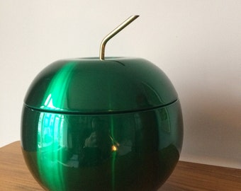 Vintage DAYDREAM Mid Century APPLE ice bucket GREEN 1960 Anodised Aluminium Barware Party mcm  party Cooler