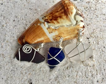 Red White and Blue Wire Wrapped Sea Glass Necklace, A Stunning Set of 3 Beachglass Pendants, Birthday gift for Mother, Sister, Best Friend