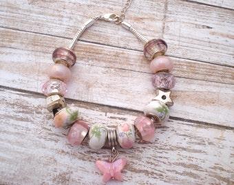 Pink Butterfly European Style Charm Bracelet