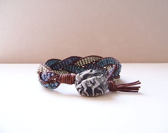 Pewter Wolf Beaded Braided Leather Wrap Cuff Bracelet, Beaded Leather Cuff, Wolf Bracelet, Wolf Jewelry, Leather Jewelry, Leather Bracelet