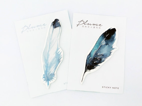 Feather Sticky Notes // Watercolour Feather • Post It Notes • Stationery • Bookmark • Page Markers • Bullet Journal • Journalling Decor