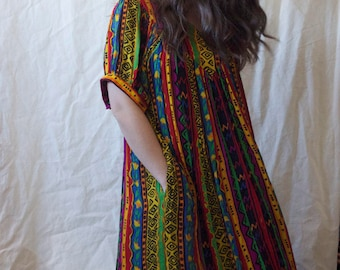 Vintage 70s 80s Rainbow Printed Lightweight Maxi Dress // V neck XS S M