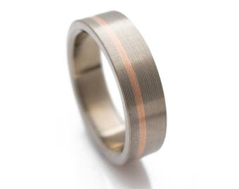 Titanium Ring With Offset 14k Rose Gold Inlay, womens wedding bands, rose gold wedding bands, unique wedding rings, for him and her