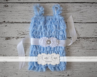 Lace Romper - Light Blue - Petti Romper, Ruffle Romper, Baby Toddler Girls Rompers, Cake Smash, 1st Birthday Outfit, Lace Baby Romper