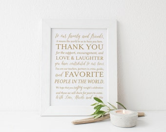 SALE Gold Wedding Thank You Sign, Printable Wedding Sign, 8x10 Wedding Signs, Custom Thank You Sign, Digital File, Choose Your Color