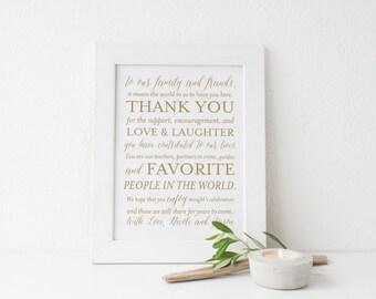 SALE Gold Wedding Thank You Sign Printable 8x10 Signs Custom