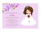 Girl First Communion Invitation, Invitacion Primera Comunión, Lavender Printable 1st Communion Invitation, Pink First Holy Communion Invite