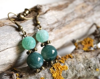 Green Moss Agate Earrings Forest Green Jewelry Dark Green Earrings with Stones with Meaning Dark Green Dangle Earrings Handmade Earrings