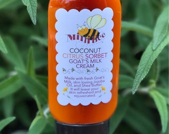COCONUT CITRUS SORBET Goat Milk Cream, Moisturizing Hand Cream, Body Cream