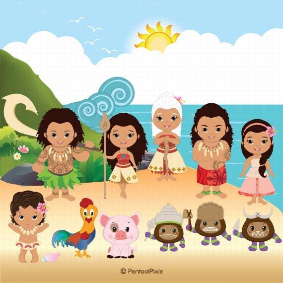 Moana clipart Polynesian Princess clipart Fairytale clipart