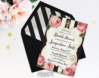 Romantic French Paris Bridal Shower Invitation with Free Shipping or DIY Printable | Fleur de Lis | Black Gold | Eiffel Tower | Ooh la la