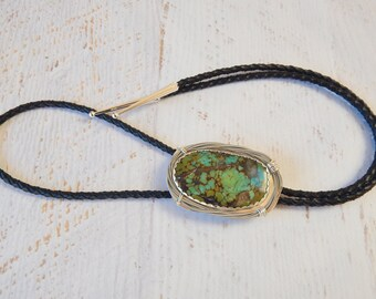 Silver Turquoise Bolo Tie Necklace, Guitar String, Southwestern, Cowgirl, Cowboy, Western, Leather Necklace, Hubei Turquoise, Country