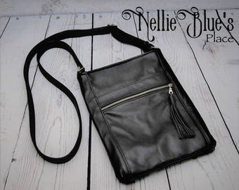 CUSTOM Leather Crossbody Bag, Cross Body Purse, Small Crossbody Bag, YOUR CHOICE of colors, Genuine Leather Bag