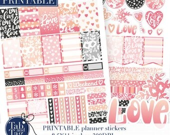 Weekly planner stickers PRINTABLE. Valentines Day Pink and black stickers for HAPPY PLANNER. Hand drawn hearts, hand lettering.