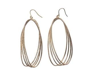 Dangle Titanium Hoop Earrings Large Gold Textured Hoop Earrings Hypoallergenic Earrings For Sensitive Ears Nickel Free Earrings Minimalist