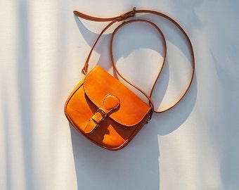 Small Crossbody Bag / Small Leather Shoulder Bag / Mini Saddle Bag / Mini Crossbody Purse / Small Handbag / Summer Bag / Handmade Crossbody