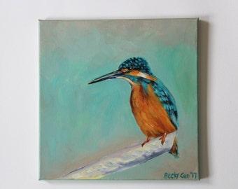 Hummingbird Art on 12×12 Canvas- original acrylic painting-bird art-bird wall decor-wildlife-animal-turquoise orange-modern art