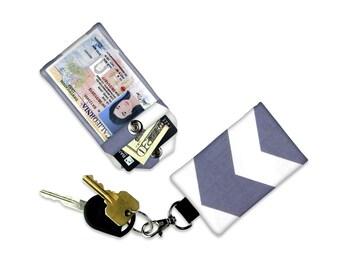 Grey Chevron Mini Wallet Card Holder Keychain Clear ID Holder Small Wallet ID Wallet Minimalist Wallet Student ID Badge Credit Card Wallet