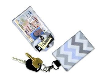 Grey Chevron Mini Wallet Card Holder Keychain Clear ID Holder Small Wallet ID Wallet Minimalist Wallet Student ID Badge Credit Card