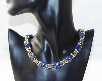 Necklace Sodalite, Gem, Gemstone, Triangle, flower, silver